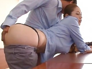 Secretary in glasses blows her boss and bends over for him