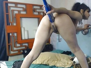 Just a little extreme insertions o a brunette milf