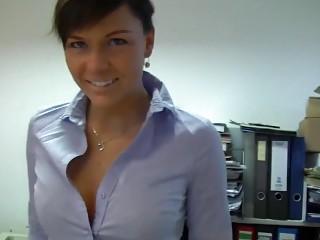 German secretary fucks with her boss in the office POV