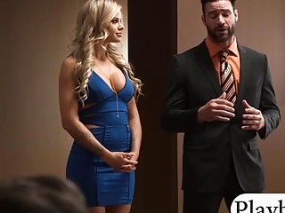 Horny women fucking a double sided dildo