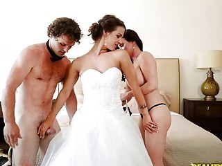 Slutty bride and her busty stepmom share her well-hung husband