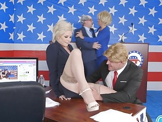 Funny presidential debate ends up with a public place sex