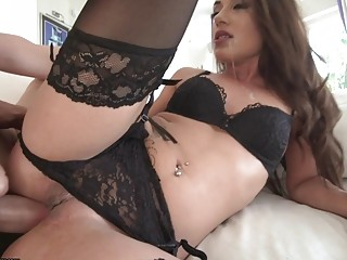 Naughty babe in black lingerie swallows cock before hardcore anal