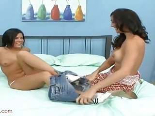 Lesbian MILF seduces an adorable teen into sloppy pussy licking