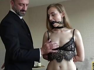 Petite and submissive brunette enjoys maledom before hardcore anal pounding