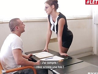 Attractive secretary ends up in a double penetration office threesome