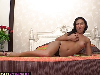 Big ass Asian ladyboy Emmy POV blowjob and loves a deep anal fucking